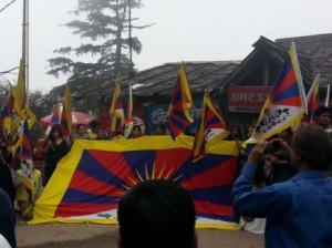 Tibetans and supporters in Dharamshala raise Tibetan national flags in a protest against Chinese forces shooting at Tibetans in Driru, Tibet. Photo: VOA